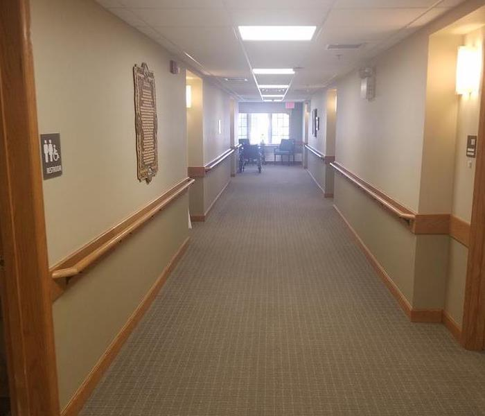 picture of a hallway in an assisted living facility after water removal